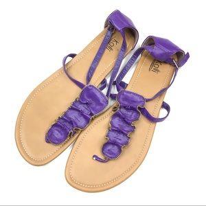 Kali   Purple Ruffle Sandals